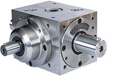 Bevel gearbox with reinforced shaft